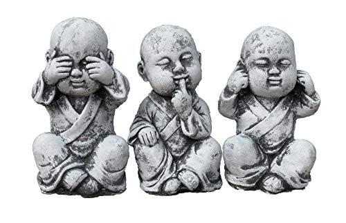 Steinfigur 3er Set Buddha Mönche Nichts sehen Nichts hören Nichts Sagen Frostfest bis -30°C massiver Steinguss