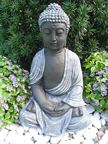 Steinfigur Buddha Gartenfigur Steinguss Basaltgrau