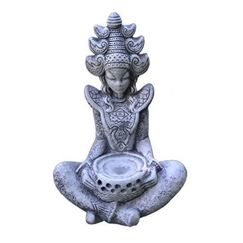 gartendekoparadiesde Massive Steinfigur Sarasvati Hinduistische Göttin Buddha in dunkel-grau Steinguss frostfest