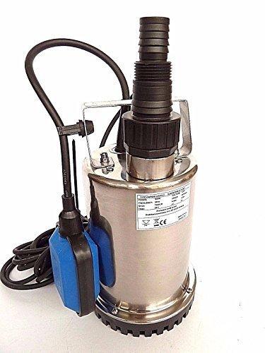 Profi Flachsaugende Tauchpumpe aus hochwertigen Edelstahl INOX Abschalthöhe 5mm inkl Schwimmerschalter Fördermenge 7500lh Spannung 230V  50Hz Leistung 400 Watt