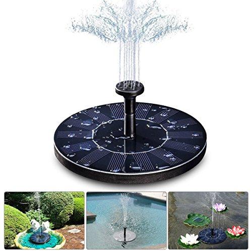 LIUMY 14W Solar Springbrunnen GOCHANGE Solarbatterie Teichpumpe Maximum 45cm Höhe mit 4 Düsen Solar Panel kann auf dem Wasser Floatable für Gartenteich oder Springbrunnen