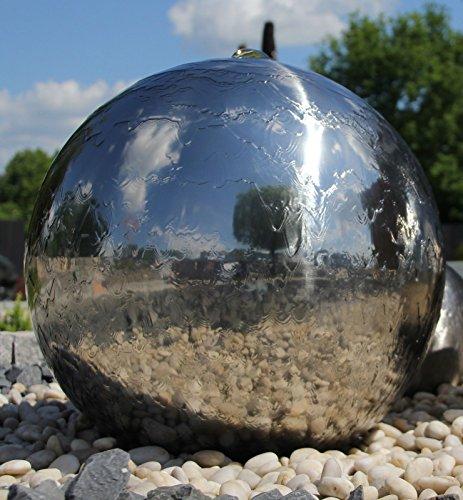 Kugelbrunnen 40 cm incl LED Komplettset Gartenbrunnen Wasserspiel Edelstahl poliert