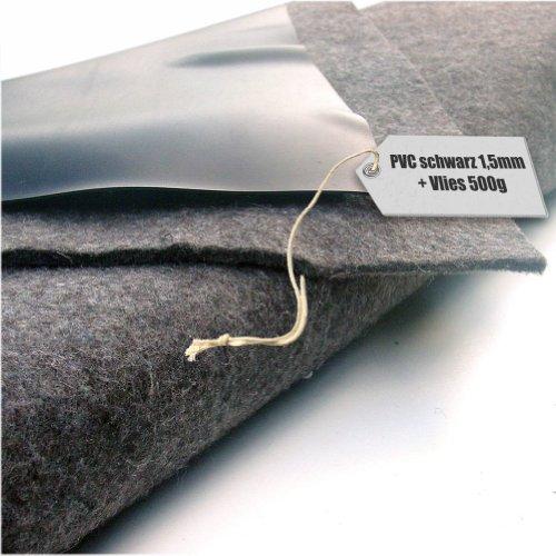 Teichfolie PVC 15mm schwarz in 12m x 2m mit Vlies 500gqm