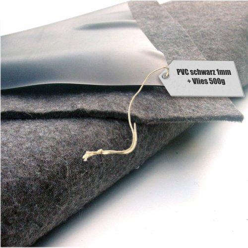 Teichfolie PVC 1mm schwarz in 10m x 6m mit Vlies 500gqm