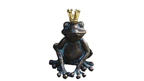 Steinfiguren Horn Wasserspeier Froschkönig Bronze Frosch Tierfigur für Garten Teich