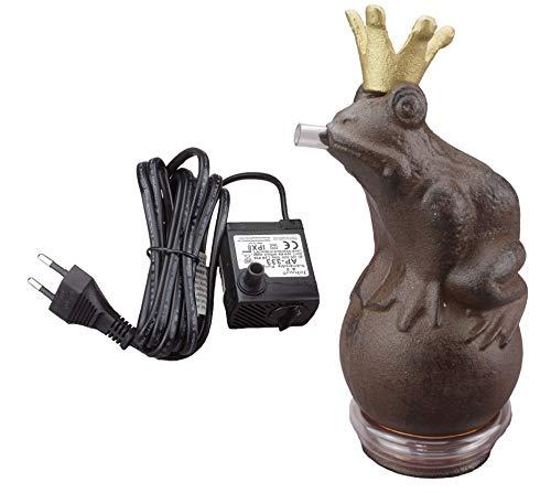 Wasserspeier Froschkönig 22cm inkl Pumpe Teich Dekoration Gartenfigur Metall