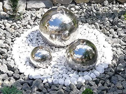 Kugelbrunnen 3er-Set 403020 cm Springbrunnen Komplettset Gartenbrunnen Edelstahl Poliert LED