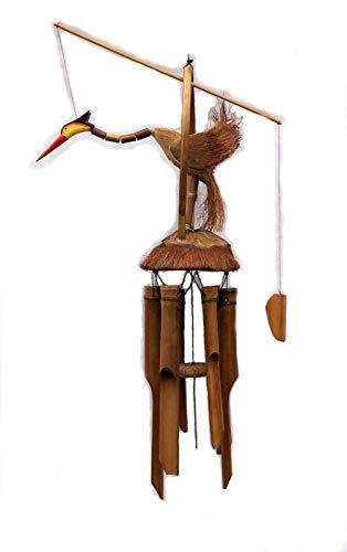 Zen Manufaktur Windspiel Klangspiel Bambus mit beweglichem Vogel 135 cm