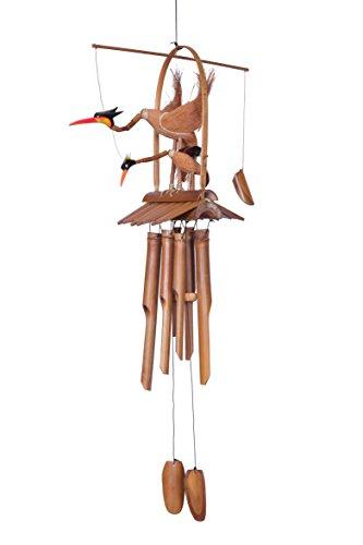 Ca 100cm Riesen Vogel Windspiel Klangspiel Mutter mit Kind Garten Wetterfest Handarbeit Bambus Kokosnuss W1