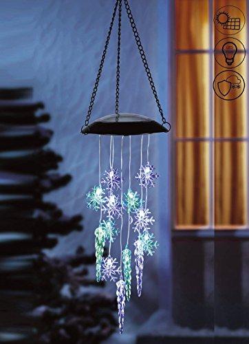 ABC Home Garden Eiskristalle ♦ Windspiel ♦ Solarleuchte ♦ Hängeleuchte ♦ LED ♦ Solarbetrieben ♦ EIN-& Ausschalter ♦ Lichtsensor blau grün
