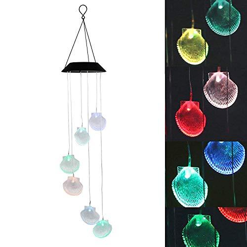 EEEKit Farbwechsel Muschel Solar Windspiele LED Windspiel Nachtlichter Solar Hngende Laterne für Hausgarten Schlafzimmer Dekoration