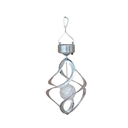 LEDMOMO Solar Wind Chimes Licht Rotierenden Bunten Farbwechsel im Freien Wasserdichte Lampe LED Windspiel Garten Rasen Balkon Veranda Fenster dekoratives Licht Silber