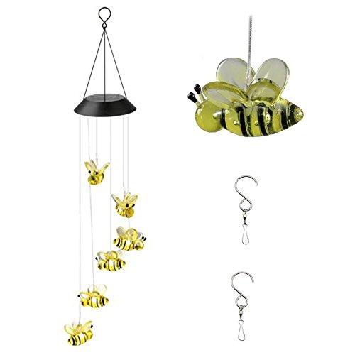 MIMINUO Solarleuchte Windspiel Farbwechselnde Windspielleuchten LED Solar Kolibri Windspiel für HausParty  Nacht Garten Dekoration Bienen