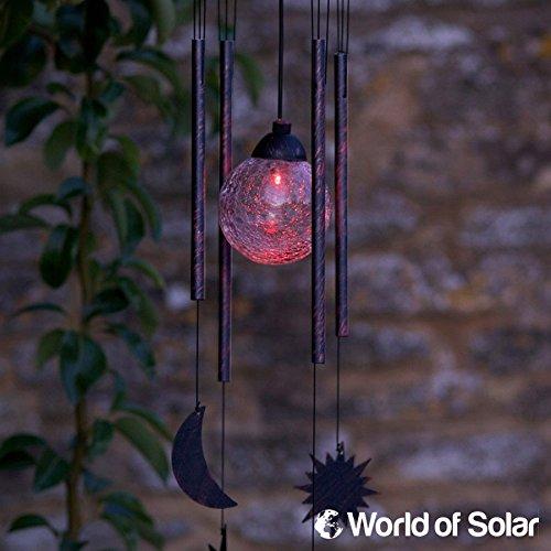 Smartes Gartenwindspiel mit Sonne Mond Sterne Solar