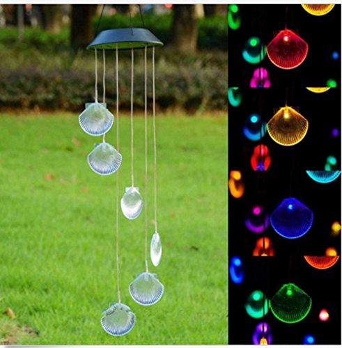 Windspiel G-King solarbetriebenes Windspiel mit LEDs die Farbe ändern als Party-Dekoration für den Garten im Muschel-Design