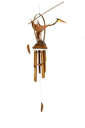 Ciffre Ca 100cm Großes Holz Vogel Windspiel Feng Shui Handarbeit Bambus Klangspiel Garten Deko