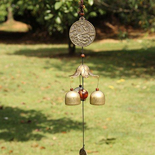 Sharplace Chinesisch Metall Windspiel Klangspiel Glücksbringer Glocke Feng Shui Deko für Balkon Garten