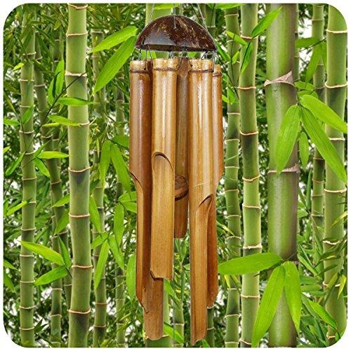 Simandra Windspiel Klangspiel Bambus Deko Mobile Klangröhren Klang-Spiel Entspannung Garten Türglocke Feng Shui 40 cm