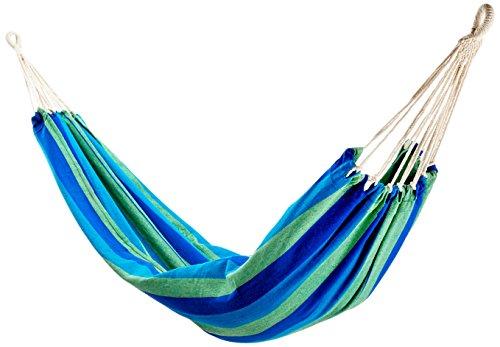 10T Azurin XL Hängematte für 1 Person Tuchhängematte aus 100 Baumwolle 220x110 cm Hängeliege Gartenliege inkl Befestigungsset mit Seil Knebelverschluß Haken Abseilachter