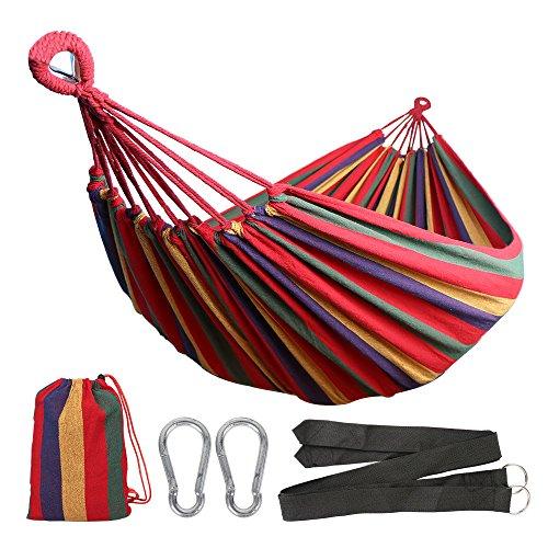 Anyoo Hängematte Outdoor Baumwolle Mehrpersonen 200 x 150 cmBelastbarkeit bis 200 kg Tragbare mit Tragetasche für Terrasse Hof Gartenard Beach Rucksack Wandern