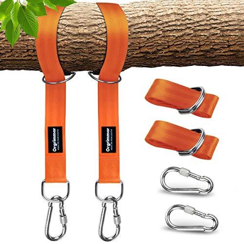 Befestigungs-Set Aufhängeset für Schaukel 5 feet Schaukel für Baum mit 2 heavy duty Hook Karabiner Tragetasche hält bis zu 2200 LB für Reifen Hängematten schaukeln seil training Set of 2 orange
