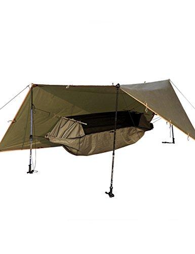 FREE SOLDIER Tactical Camping Wandern Hängematte mit Tarp Kit Multi bewegliches wasserdichtes hängendes Bett mit Shed Braun