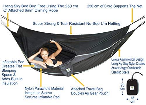 Hammock Bliss Sky Bed Bug Free - die Lösung für insektenfreies Schlafen - Hängematte in der man wie in einem Bett schläft - einmaliges asymmetrisches Design bietet erstaunlich flachen sowie komfortablen Platz zum Schlafen