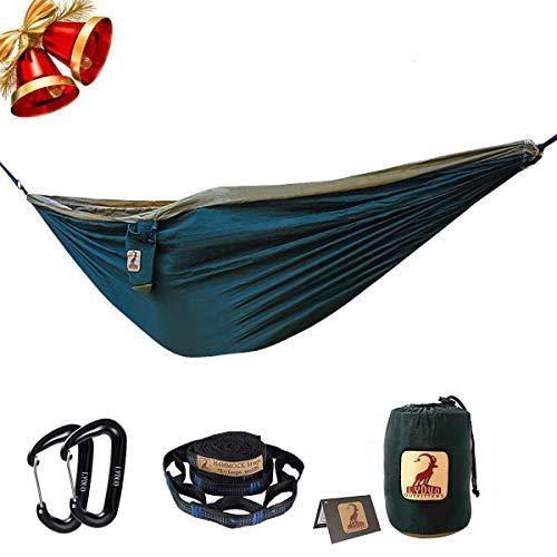 LYDUO Doppelt Camping Hängematte Ultraleichte Atmungsaktiv schnell trocknende Fallschirm Nylon Reise-Hängematte Bett für Rucksackreisen Camping Reisen DunkelgrünKamel