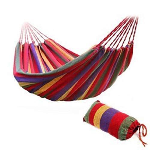 Reise Camping Hängematte Baumwolle Stoff Swing Bett Leinwand Stripe Outdoor tragbar mit Tasche FIT 2 Personen