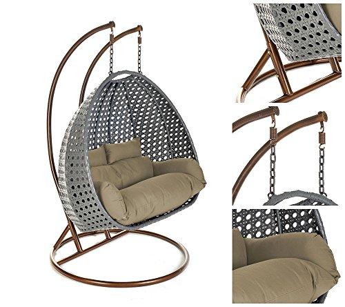 Home Deluxe  Polyrattan Hängesessel  Twin XXL  grau  inkl Sitz- und Rückenkissen