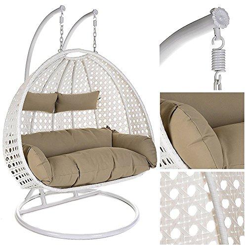Home Deluxe  Polyrattan Hängesessel  Twin XXL  inkl Sitz- und Rückenkissen  weiß