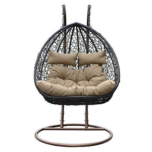 Home Deluxe  Polyrattan Hängesessel  Twin geschwungen  braun  inkl Gestell Sitz- und Rückenkissen