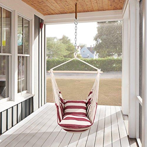 Holifine Hängesessel XL Hängesitz 120 x 150 cm Hängestuhl mit 2 x Kissen und Spreizstab aus Holz Hängeschaukel Belastbarkeit bis 120 kg - RotWeiß Streifen