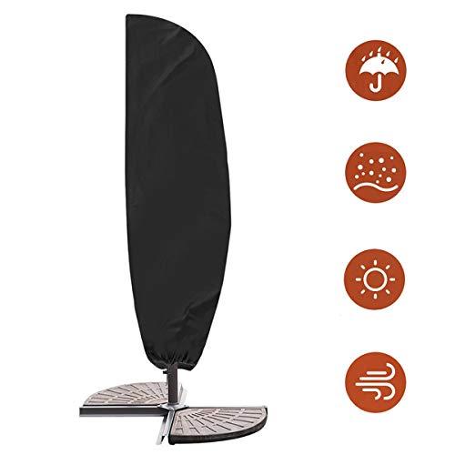 Schutzhülle für Ampelschirm Wasserdichtes Atmungsaktives 420D Oxford-Gewebe Sonnenschirmhülle Ampelschirme Abdeckung mit Reißverschluss und Zugkordel Schirmhülle
