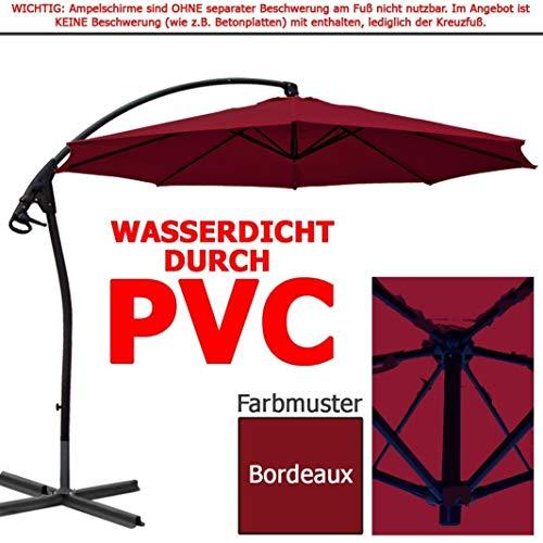 habeig Luxus Ampelschirm 3m Bordeaux rot WASSERDICHT durch PVC Schirm 300cm Sonnenschirm