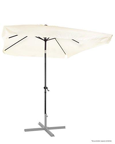 Ondis24 Marktschirm 3x2 Meter Sonnenschirm rechteckig mit Volant Knick-Gelenk Kurbel Gestell aus Stahl UV 50 Beige