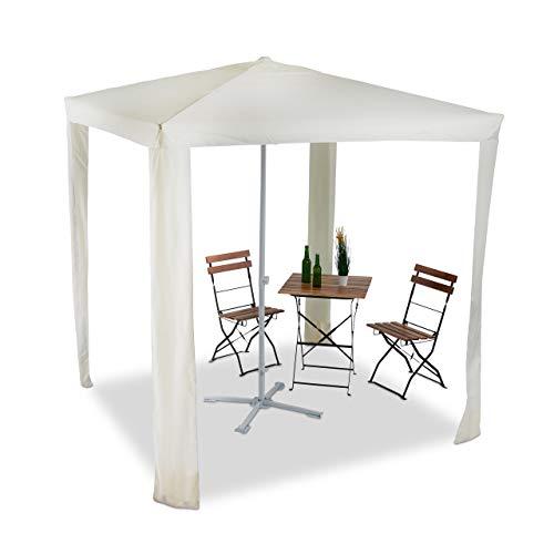 Relaxdays 2 in 1 Schattenspender Wasserabweisender Pavillon 2x2m Polyester Bespannung gelb Sonnenschirm quadratisch