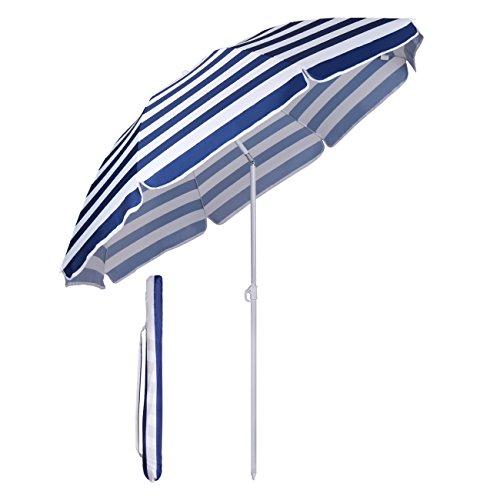Sekey Sonnenschirm Ø 160 cm Marktschirm Gartenschirm Terrassenschirm Blaue Weiße Streifen Sonnenschutz UV20