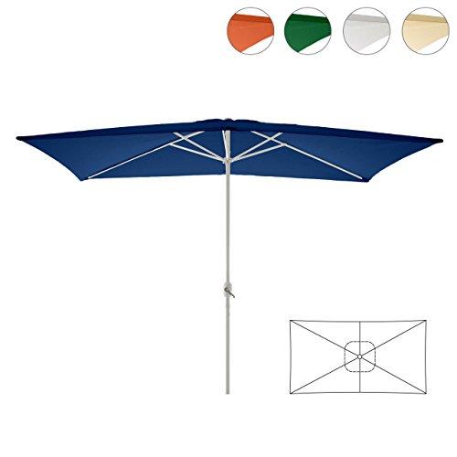Nexos Sonnenschirm blau 200x300 cm quadratisch Gestell Stahl Bespannung Polyester 6 kg