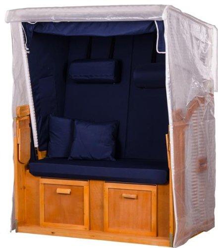 Mr Deko PVC Strandkorbhülle transparent - Hülle - Regenhaube - Strandkorb - Schutzhülle - einfache Montage - Polyester - Abdeckplane - Strandkörbe Zweisitzer