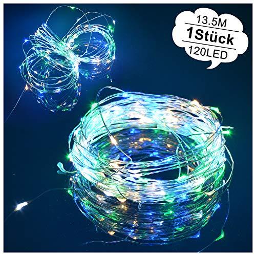 Mr Twinklelight 12M 120 LED Bunte Lichterkette Wasserdicht 8 Modi USB Kupferdraht Lichterkette Innen Außen für Weihnachten HochzeitSchlafzimmer Häuser Party und Deko
