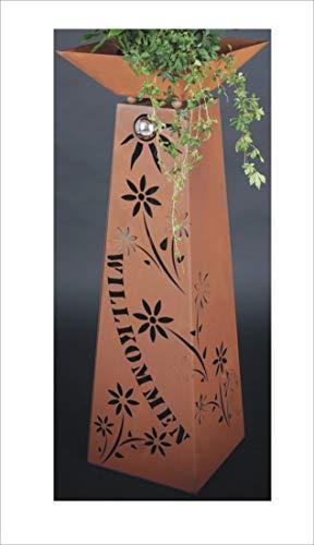 Jabo Design XL Rost Säule  Schale WILLKOMMEN RS77S11 Blumen Deko Rostsäulen Säulen rostig