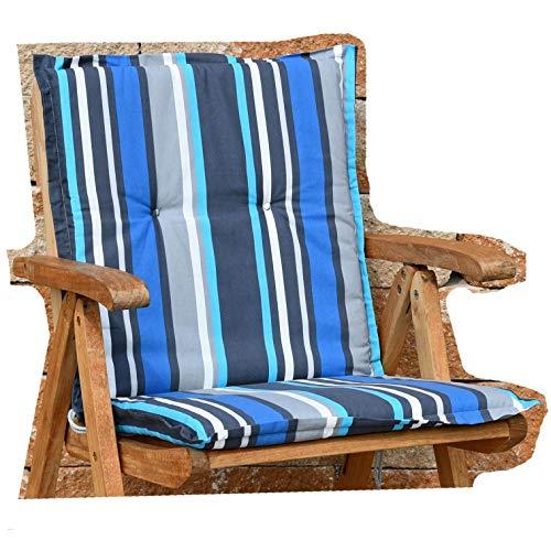 2 Auflagen für Sessel niedrig 100x50x4 cm in grau blau gestreift SUN GARDEN Villach 20579-110 ohne Sessel