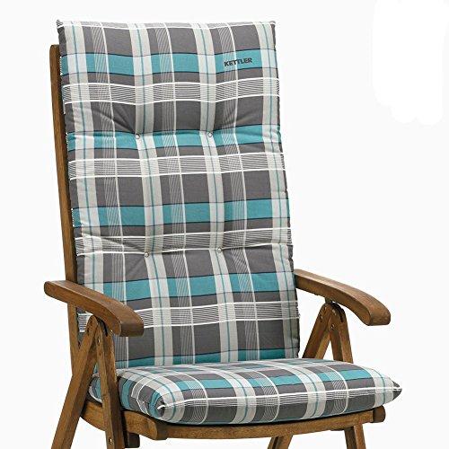 6 Kettler Auflagen für Hochlehner Dessin 770 Rudi in blau-grau kariert ohne Sessel