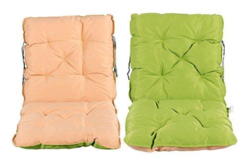 Meerweh 2er Set Rückenkissen Sessel ca 50 x 98 x 8 cm Polsterauflage Sitzkissen grünbeige 50 x 98 x 10 cm