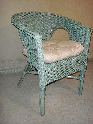 Sessel Rattansessel grün Korbsessel Rattan Stuhl Stühle Korbstuhl hell grün mit Polster