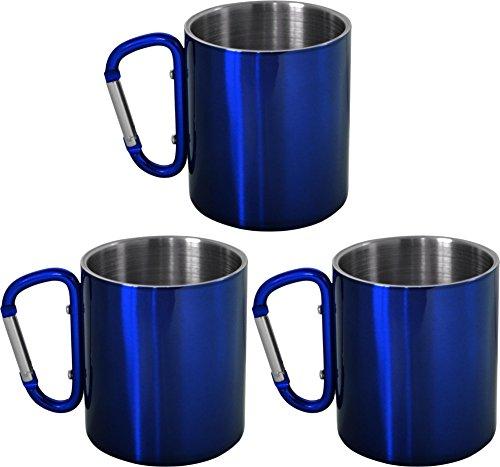 normani 3er Set Karabinertasse Edelstahl 330 ml zur Befestigung am Rucksack Farbe Blau