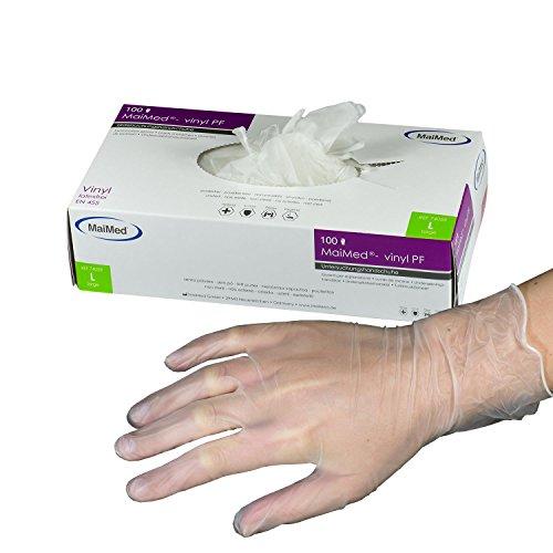 MaiMed-vinyl PF Einmal-Handschuhe weiß Gr L-Einweghandschuhe Einmalhandschuhe Untersuchungshandschuhe