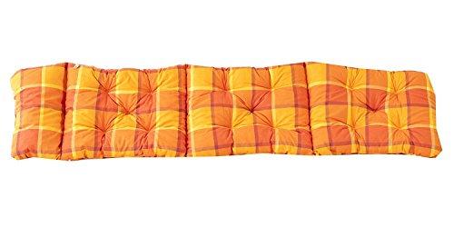 Ambientehome Deckchair Auflage für Liege kariert orange ca 195 x 49 x 8 cm Polsterauflage Kissen