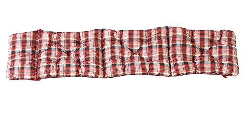 Ambientehome Deckchair Auflage für Liege kariert rot ca 195 x 49 x 8 cm Polsterauflage Kissen